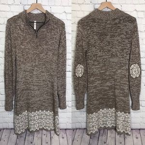 Soybu sweater dress brown white pullover snowflake
